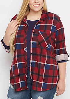 Plus Red Plaid Soft Flannel Shirt