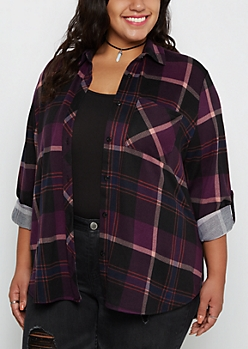 Plus Plum Tartan Plaid Flannel Shirt