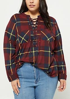 Plus Burgundy Lace Up Plaid Boyfriend Shirt