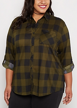 Plus Buffalo Plaid Challis Button Down