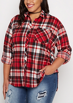 Plus Red & Black Plaid Challis Shirt