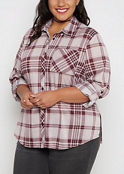 Plus Lavender Plaid Challis Button Down