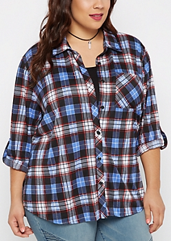 Plus Blue Plaid Challis Button Down