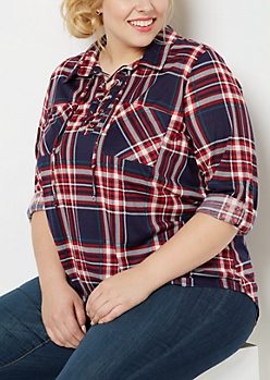 Plus Americana Plaid Lace-Up Popover Top