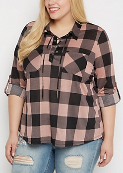 Plus Pink Buffalo Plaid Lace-Up Popover Top