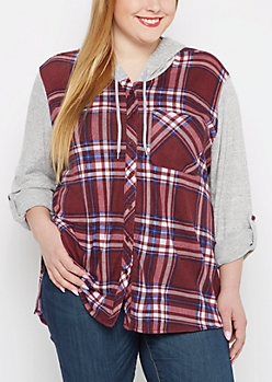 Plus Burgundy Hooded Plaid Hacci Blocked Shirt