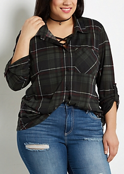 Plus Dark Green Plaid Essential Button Down