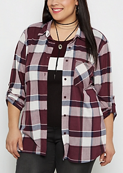 Plus Burgundy Plaid Essential Button Down