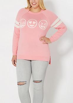 Plus Pink Emoji Trio Raglan Sweater