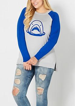 Plus Shark Attack Raglan Sweater