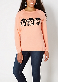 Plus See  No Evil Monkey Raglan Sweater