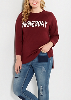 Plus #Winesday Raglan Sweater