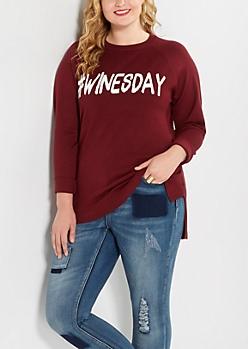 Plus #Winesday Raglan Sweater