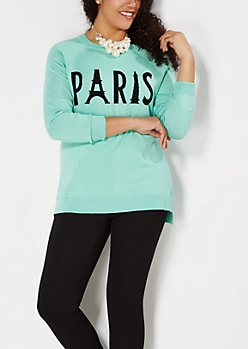 Plus Mint Green Paris Sweater