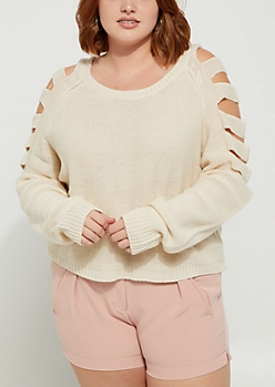 Plus Sand Slashed Sleeve Sweater