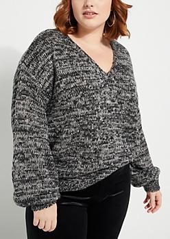 Plus Black Marled Lace Up Back Sweater
