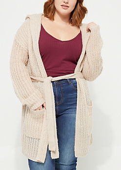Plus Light Pink Hooded Belted Cardigan