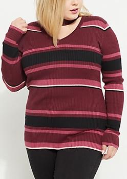 Plus Purple Striped Choker Sweater
