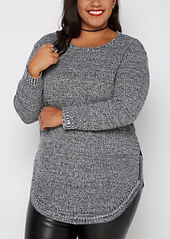 Plus Black Marled Split Seam Sweater