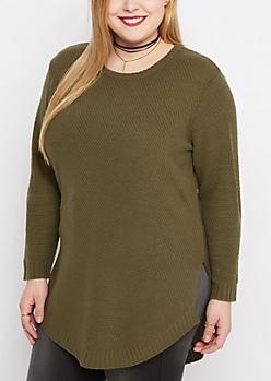Plus Olive Tunic Shirttail Sweater
