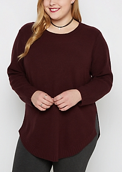 Plus Plum Tunic Shirttail Sweater