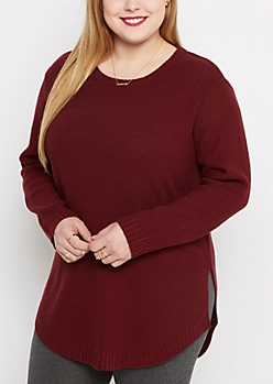 Plus Burgundy Tunic Shirttail Sweater