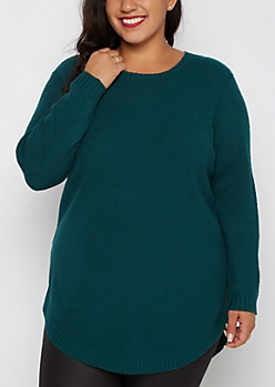 Plus Teal Tunic Shirttail Sweater