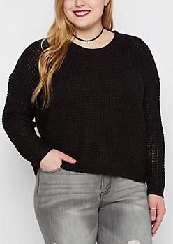 Plus Black Waffle Crop Sweater