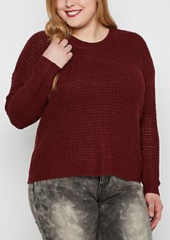Plus Burgundy Waffle Crop Sweater