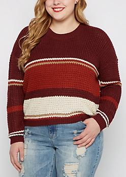 Plus Burgundy Striped Waffle Knit Sweater