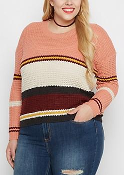 Plus Pink Striped Waffle Knit Sweater