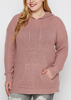 Plus Pink Waffle Knit Hoodie