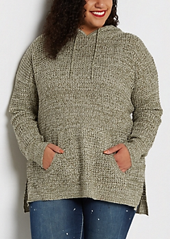 Plus Olive Marled Knit Hooded Sweater