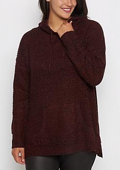 Plus Burgundy Marled Knit Hooded Sweater