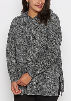 Plus Black Marled Knit Hooded Sweater