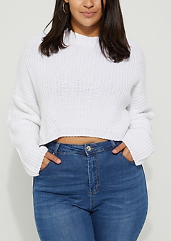 Plus Ivory Rib Knit Crop Sweater