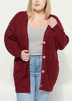 Plus Burgundy Button Up Cardigan