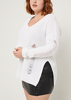 Plus Ivory Destroyed Rib Knit Sweater
