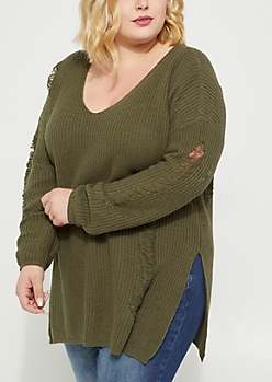Plus Olive Destroyed Rib Knit Sweater