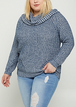 Plus Blue Cowl Neck Sweater