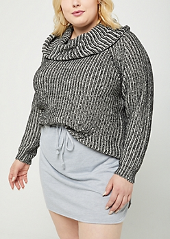 Plus Black Cowl Neck Sweater
