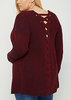 Plus Red Lace Up Knit Cardigan