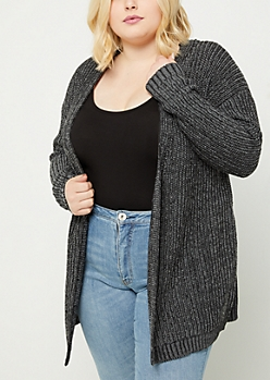 Plus Black Lace Up Knit Cardigan
