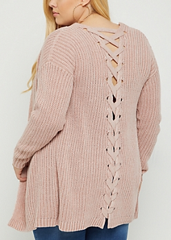 Plus Pink Lace Up Knit Cardigan