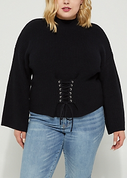 Plus Black Corset Sweater