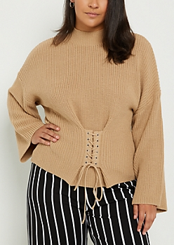 Plus Tan Corset Sweater