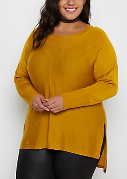Plus Mustard Center Seam Tunic Sweater