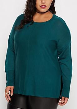 Plus Jade Center Seam Tunic Sweater