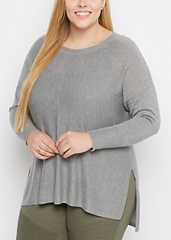Plus Gray Exposed Seam Sweater