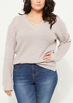 Plus Pink Crossing Strap V-Neck Knit Sweater